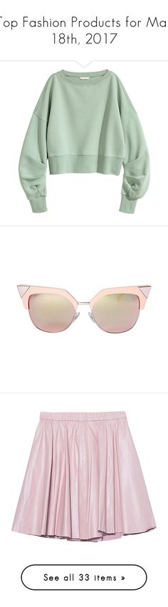 """Top Fashion Products for Mar 18th, 2017"" by polyvore ❤ liked on Polyvore featuring tops, hoodies, sweatshirts, green sweatshirt, harness top, green top, accessories, eyewear, sunglasses and rose gold sunglasses"