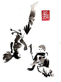 Encres : Capoeira – 639 [ #capoeira #watercolor #illustration] aquarelle sur papier 300gr / watercolor on paper 300gr 15 x 20 cm / 5.9 x 7.9 in