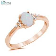 Oval Cut White Opal Ring Pink Rose Gold Solid by BlueAppleJewelry
