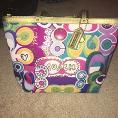 COACH purse Never used authentic coach purse. Fun pattern and longer strap to fit over the shoulder. Bags Shoulder Bags