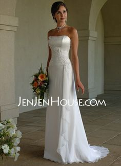 Wedding Dresses - $128.19 - A-Line/Princess Sweetheart Court Train Chiffon  Satin Wedding Dresses With Ruffle  Beadwork (002011396) http://jenjenhouse.com/A-line-Princess-Sweetheart-Court-Train-Chiffon--Satin-Wedding-Dresses-With-Ruffle--Beadwork-002011396-g11396