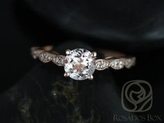 Helena 6mm 14kt Rose Gold Round Morganite and Diamond Engagement Ring (Other metals and stone options available)