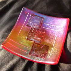 Fused Glass Dish Red Iridescent Candy Dish Pillar by GlassCat, $25.00