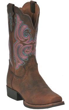 Justin® Stampede Collection™ Ladies Dark Brown Rawhide Punchy Toe Western Boot | Cavender's Boot City