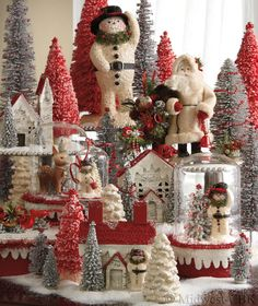 Christmas Bottle Brush Trees & Snowmen, Houses, & Santa: Victorian Whimsies by Nancy Malay. Vintage details inspired by postcards and toys from a simpler time.