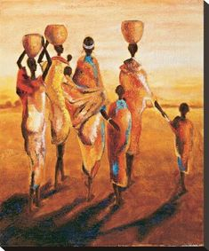 size: Stretched Canvas Print: Meres et Enfants by Jaques Beaumont : Using advanced technology, we print the image directly onto canvas, stretch it onto support bars, and finish it with hand-painted edges and a protective coating. Africa Painting, India Painting, Painting Edges, Oil Painting Abstract, Afrique Art, African Art Paintings, Tribal African, Frames For Canvas Paintings, Stretched Canvas Prints
