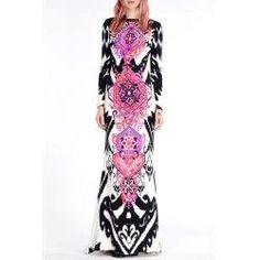 trendsgal.com - Trendsgal Round Collar Long Sleeve Vintage Print Maxi Dress - AdoreWe.com