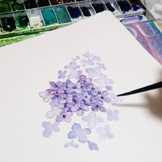Watercolor Journal, Watercolor Plants, Watercolor Cards, Watercolour Painting, Floral Watercolor, Painting & Drawing, Lilac Painting, Watercolour Tutorials, Watercolor Techniques