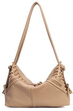 Khaki Rivet Zipper PU Leather Shoulder Bag
