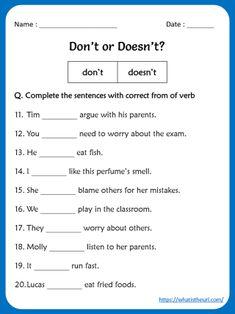 Teach English To Kids, Teaching English, English Grammar Worksheets, Verb Tenses, School Tomorrow, 20 Questions, Worksheets For Kids, Sentences, Teacher