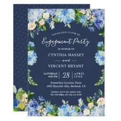 Navy Blue Hydrangeas Floral Engagement Party Card - spring gifts beautiful diy spring time new year
