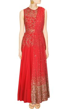 This red anarkali set is featuring in silk fabric with bead and cutdana floral all over bodice. This red anarkali comes along with attached light pink net dupat