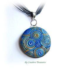 Blue Filigree Polymer Clay Pendant. £6.50
