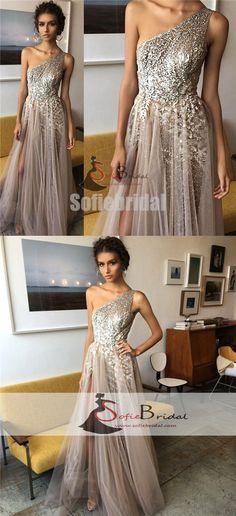 One Shoulder Appliques Beaded Prom Dresses, Tulle Side Slit Prom Dresses, Prom Dresses, PD0449 #promdresses