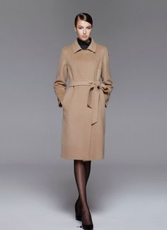 Belted Camel Color Cashmere Wool Coat RB102 – RobePlus