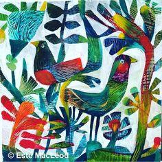 "#happy #sunny Tuesday Two birds a 12""x12"" #painting #fantasy #flowers #flowerstagram #instaart #estemacleod #color #explorecolour #estepaints2016 #contemporaryart #goldenacrylics @imaginationarts"