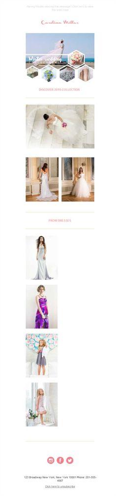 ¿Quién dice que no se pueden mirar vestidos de boda a través de teléfono móvil? Con el diseño responsive de las plantillas newsletter de Mailify puedes.