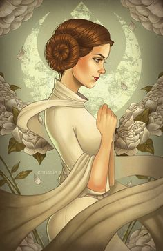 I just bought this print at Phoenix Comicon! It's so beautiful! Rebel Princess | Leia by Chrissie Zullo