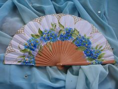 "hand painted spanish fan FREE SHIPPING ""no me olvides"" flowers"