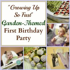 """""""Growing Up So Fast"""" garden-themed little girl first birthday party. Lavender, blue and green color palate."""