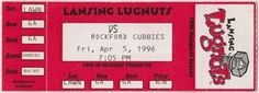 https://flic.kr/p/GBMQZW | Lugnuts ticket stub-1996-04-05-first game ever-Lansing, MI