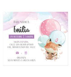 Invitación Baby Shower Zorrito Aerostático - Oh! Yupi Yei Invitaciones