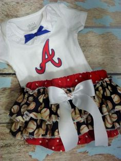 Atlanta Braves Outfit, Boutique Baseball Team Ruffled BLoomer Outfit.  Newborn thru size 4   Needles Knots n Bows on Artfire and Storenvy.  All teams and leagues available