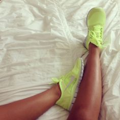 Neon tennis shoes. Love the color!!!!