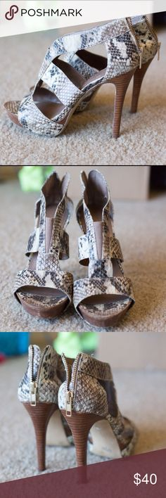 Jessica Simpson heels Jessica Simpson snakeskin heels! Some scuffs and scrapes but they blend into the pattern well, still have a lot of life left Jessica Simpson Shoes Heels