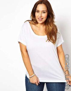 ASOS curve | ASOS CURVE Exclusive Off Shoulder T-Shirt #asoscurve #white #tshirt