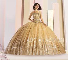 Gold Strapless Glitter Quinceanera Dress by Ragazza Fashion Dresses-ABC Fashion Long Sleeve Quinceanera Dresses, Prom Dresses, Formal Dresses, Sweet 15 Dresses, Quinceanera Party, Quinceanera Decorations, Glitter Fashion, Quince Dresses, Two Piece Dress