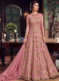 Pink and Gold Embroidered Net Anarkali Gown – Lashkaraa Outfit Designer, Indian Gowns Dresses, Pakistani Bridal Dresses, Bridal Anarkali Suits, Pakistani Gharara, Net Dresses, Long Anarkali Gown, Floor Length Anarkali, Flapper Dresses