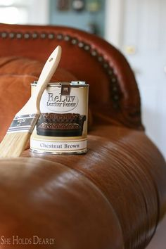 repair leather couch How to paint leather furniture, dye leather, chair, couch Refurbished Furniture, Paint Furniture, Upcycled Furniture, Furniture Projects, Furniture Makeover, Bedroom Furniture, Home Furniture, Antique Furniture, Furniture Stores