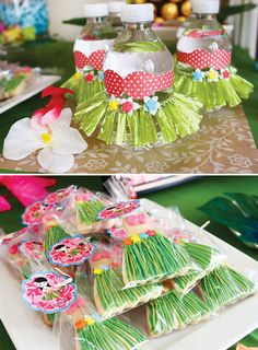 Tropical Oasis Hawaiian Luau Birthday Party: Grass skirt & bikini decorated drinks +grass skirt cookies