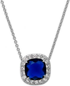 kate spade new york Silver-Tone Crystal-Framed Blue Stone Pendant Necklace