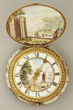 Marie Antoinette's Playhouse→   Watchmaker: Jacques Goullons (1626-1671) - Case And Dial: Painted Enamel On Gold; Movement Gilded Brass And Steel, Partly Blued - French, Paris Or Blois c. 1645-1650