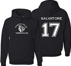 Adult Vampire Diaries Salvatore 17 Hoodie Large Black