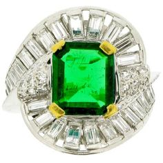 Preowned Mellerio Natural Unenhanced Muzo Emerald Diamond Ring ($45,013) ❤ liked on Polyvore featuring jewelry, rings, green, baguette ring, green ring, 1920s engagement rings, green emerald ring and emerald rings