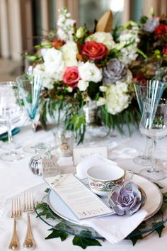 Pretty tea party place setting.  Photo by Helmutwalker Photography.  www.wedsociety.com  #wedding #placesetting