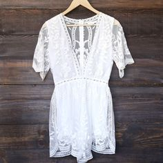 as you wish embroidered lace romper (women) - white - shophearts