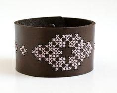 DIY kit : cross stitched leather cuff/bracelet ($35.00, via redgatestitchery.etsy.com)