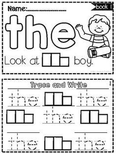 SIGHT WORD BOOKS-SET 1 Preschool Sight Words, Teaching Sight Words, Sight Word Practice, Sight Word Activities, Preschool Learning Activities, Word Games, Preschool Ideas, Sight Word Worksheets, School Worksheets