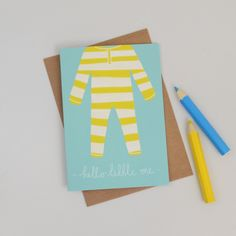 New to HannahStevensShop on Etsy: New Baby Card Stripey Yellow Baby Grow…