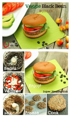 Veggie Black Bean Burger - Dinner tonight? These black bean burgers make you look like a super chef! Your kids will thank you :) http://www.superhealthykids.com/veggie-black-bean-burger/