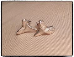 Fine silver clay sharks teeth studs (moulded from fossilised sharks tooth) Www.thaliajewellerydesigns.com www.facebook.com/ThaliaJewelleryDesigns