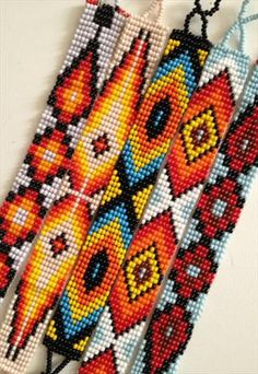 Design your own photo charms compatible with your pandora bracelets. Navajo Beaded Bracelet - LUCKY DIP SALE from azteclovers Loom Bracelet Patterns, Seed Bead Patterns, Bead Loom Bracelets, Beading Patterns, Pandora Bracelets, Indian Beadwork, Native Beadwork, Native American Beadwork, Beaded Hat Bands