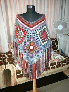 Crochet Big Poncho Granny Square Poncho Kaleidoscope Hippie Style Cape Bohemian Sweater Women Winter Clothing Fashion Accessories Gift Ideas by sebsurer