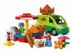 Lego Duplo Market Place 5683 by LEGO. $39.00. Ages: 2-5. Pieces: 24. Lego Duplo Market Place 5683 - New Release. Includes 3 LEGO® DUPLO® figures: grocer, customer and cat. Features grocer's van, umbrella, flowers, crate, sign, fruit and vegetable bricks and sign. Ring up the customers at the cash register! Unload the groceries from the grocer's van!