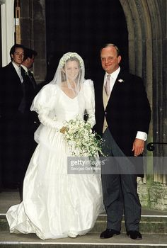 40. Julia and James Ogilvy, the son of the Queen's cousin Princess Alexandra of Kent and the late Sir Angus Ogilvy, on their wedding day on 30 June 1988.