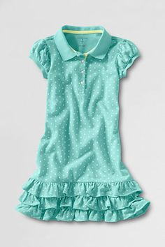 Girls' Short Sleeve Tiered Polo Dress from Lands' End